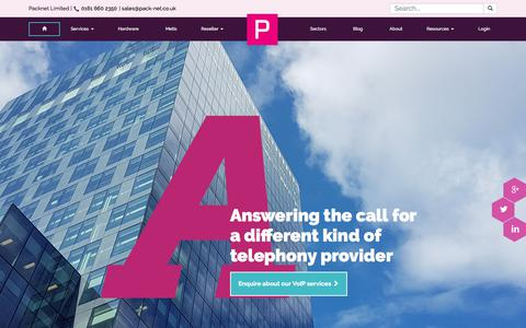 Screenshot of Home Page pack-net.co.uk - VoIP for Business UK - Business VoIP Providers & Business Telephone Systems | PackNet - captured Sept. 26, 2018