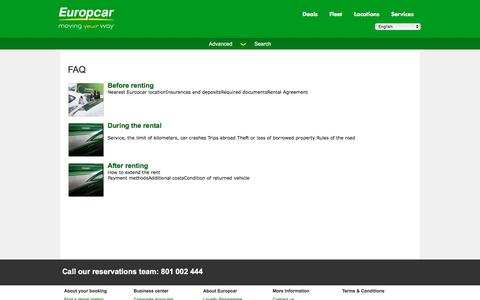 Screenshot of FAQ Page europcar.com.pl - FAQ - captured April 15, 2018