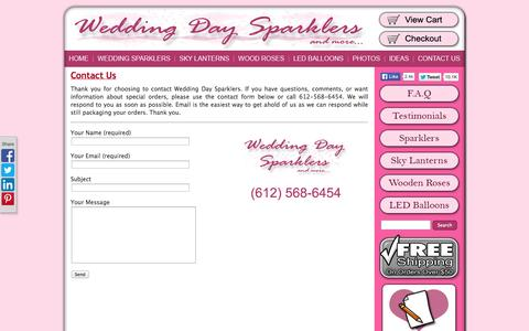 Screenshot of Contact Page weddingdaysparklers.com - Contact Us | Wedding Day Sparklers - And More! - captured Oct. 7, 2014