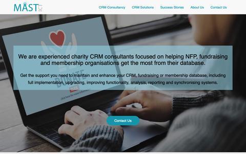 Screenshot of Home Page mast-ict.com - Expert CRM Consultants for Charity & Non Profit Sectors             MAST ICT - captured Nov. 5, 2018