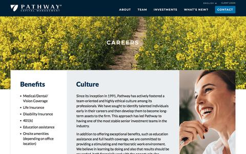 Screenshot of Jobs Page pathwaycapital.com - Careers | Pathway Capital Management - captured Aug. 28, 2019