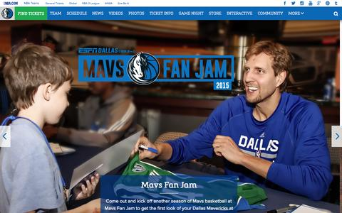 Screenshot of Home Page mavs.com - Home - Official Website of the Dallas Mavericks - captured Oct. 1, 2015