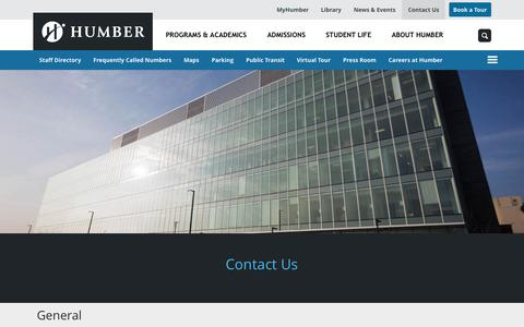 Screenshot of Contact Page humber.ca - | Humber College - captured Oct. 20, 2015