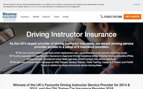 Screenshot of Home Page driving-school-insurance.com - Driving Instructor Insurance and Driving School Insurance from Waveney Group Schemes Part of the Towergate Group - captured Nov. 6, 2017