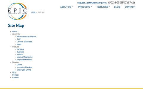 Screenshot of Site Map Page huhinsurance.com - Epic Insurance - captured Nov. 1, 2014