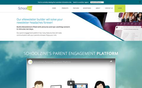 Screenshot of Home Page schoolzine.com.au - Schoolzine | School Newsletters, Parent teacher bookings, Mobile Apps - captured Aug. 17, 2019