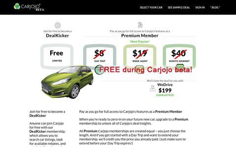 Screenshot of Pricing Page carjojo.com - Pricing - Carjojo - captured July 11, 2016