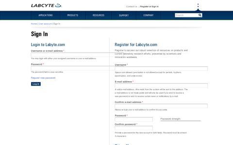 Screenshot of Login Page labcyte.com - Login or Register | Labcyte - captured July 18, 2014
