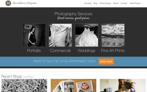 Screenshot of Services Page marenphoto.com - Maren McGowan Photography | Photography Services - captured Feb. 12, 2016