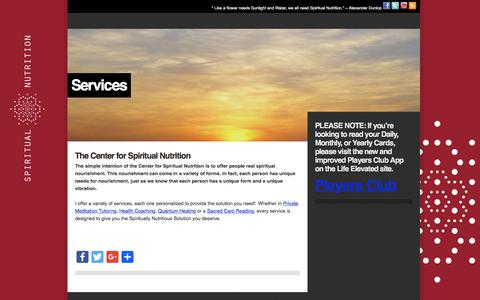 Screenshot of Services Page spiritualnutrition.org - Services – - captured Oct. 22, 2017