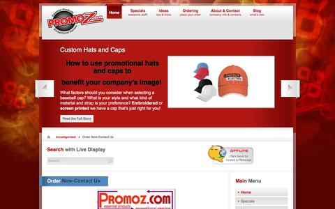 Screenshot of Contact Page promoz.com - Order Now-Contact Us   Promotional Products by Promoz - captured Dec. 13, 2015