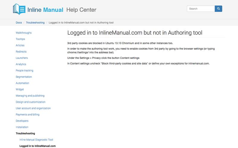 Logged in to InlineManual.com but not in Authoring tool | Inline Manual Help Center