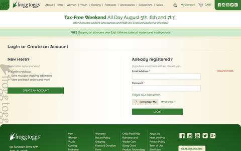 Screenshot of Login Page froggtoggs.com - Customer Login - captured Aug. 4, 2016