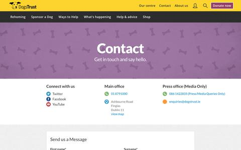 Screenshot of Contact Page dogstrust.ie - Contact Us | Dogs Trust - captured Jan. 23, 2018