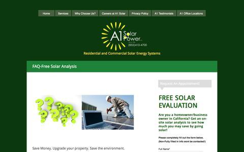 Screenshot of FAQ Page a1solarpower.net - FAQ - Free Solar Analysis - captured Feb. 4, 2016