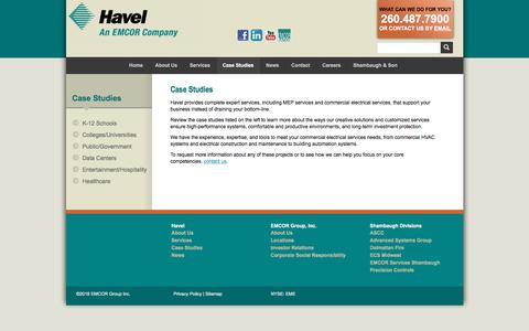 Screenshot of Case Studies Page havelbros.com - Building Automation Systems & MEP Services | Havel - captured Feb. 25, 2018