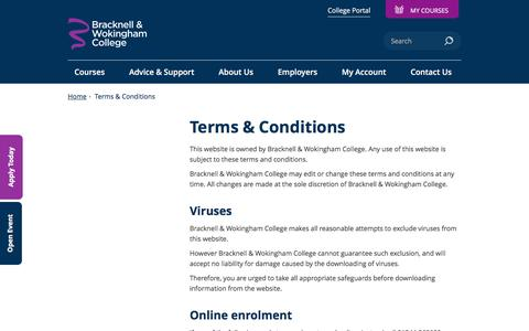 Screenshot of Terms Page bracknell.ac.uk - Terms & Conditions - captured Nov. 23, 2016