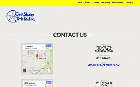 Screenshot of Contact Page gulfshorestitle.com - Contact Us : Gulf Shores Title - captured Oct. 3, 2014