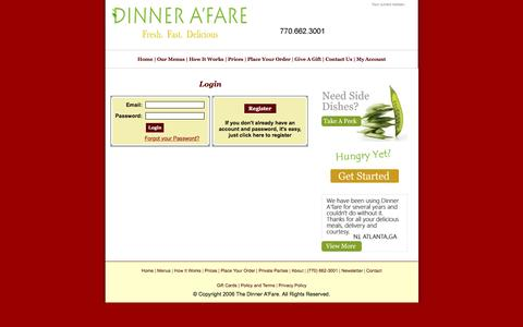 Screenshot of Signup Page dinnerafare.com - The Dinner A'Fare | Foodie Fresh.  Family Fast.  Financially Friendly. - captured Oct. 8, 2016