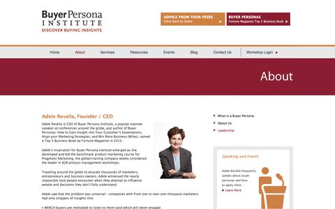 Screenshot of Team Page buyerpersona.com - Adele Revella, Founder / CEO<!--Leadership--> - captured Oct. 11, 2017
