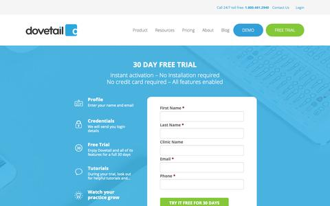 Screenshot of Trial Page dovetail.co - 30 Day Free Trial | Dovetail Dental Software - captured Dec. 19, 2018