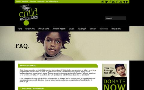 Screenshot of FAQ Page advokid.org - FAQ | Support Center for Child Advocates - captured Oct. 7, 2014