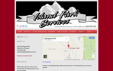 Screenshot of Contact Page islandparkservices.com - Contact Island Park Services today - captured Jan. 9, 2016