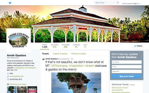 Screenshot of Twitter Page twitter.com - Amish Gazebos (@amishgazebos)   Twitter - captured Oct. 23, 2014