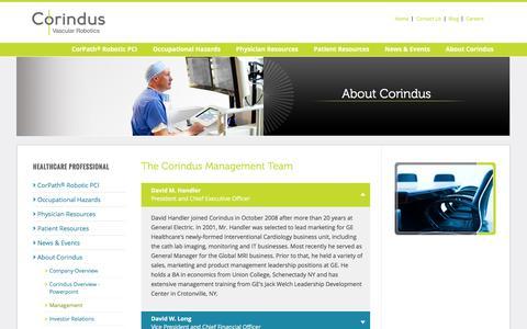 Screenshot of Team Page corindus.com - Corindus Management Team - captured Jan. 31, 2016