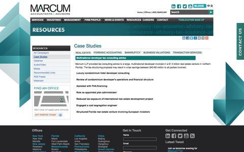 Screenshot of Case Studies Page pmn.com - Case Studies   Resources   Marcum LLP   Accountants and Advisors   New York, New Jersey, Massachusetts, Connecticut, Rhode Island, Pennsylvania, California and Florida Certified Public Accountants - captured Oct. 2, 2014