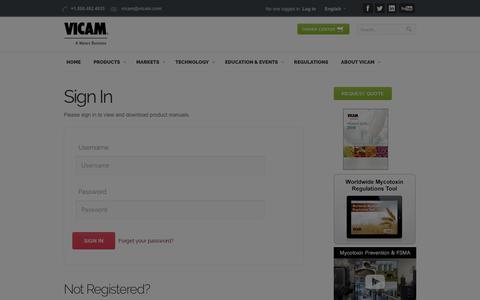 Screenshot of Login Page vicam.com - Sign In - captured Oct. 18, 2018