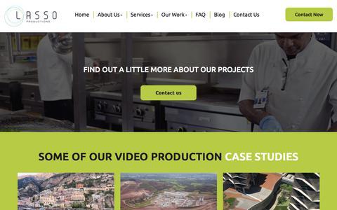 Screenshot of Case Studies Page lassoproductions.com - Video Production Perth | Lasso Productions - Case Studies - captured July 16, 2018