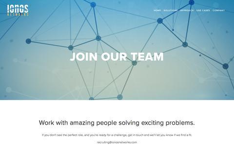 Screenshot of Jobs Page ionosnetworks.com - Careers — Ionos Networks - captured Sept. 20, 2018