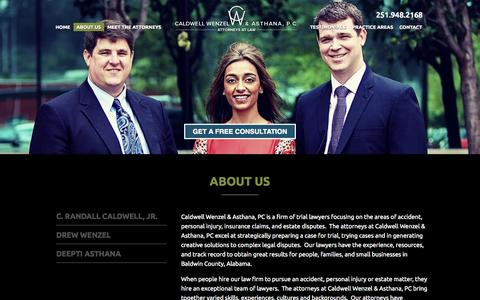 Screenshot of About Page cwalawfirm.com - About Us | Caldwell Wenzel & Asthana, PC - captured Oct. 1, 2014