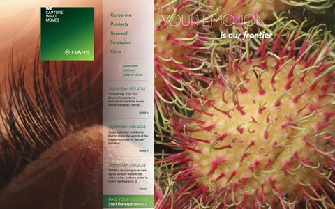 Screenshot of Home Page mane.com - MANE Flavor & Fragrance Manufacturer - captured Sept. 24, 2014