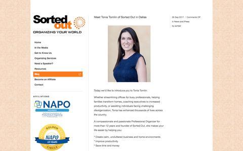 Screenshot of Blog sortedout.com - Professional Organizing Blog by SortedOut.com Dallas TX - captured Nov. 7, 2017