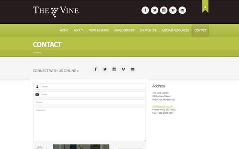 Screenshot of Contact Page thevine.org.hk - Contact - The Vine Church - An international church in Hong Kong - captured Oct. 9, 2014