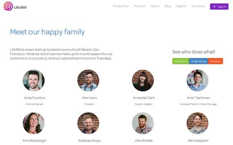 Screenshot of Team Page life360.com - Our Team | Life360 - The New Family Circle - captured July 20, 2014