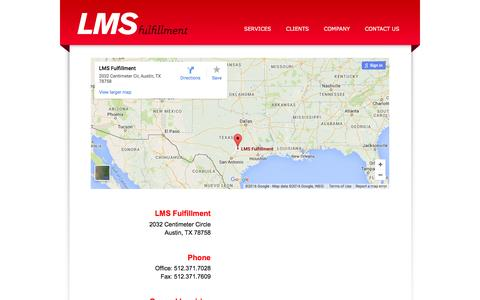 Screenshot of Contact Page Maps & Directions Page lmsfulfillment.com - LMS - Contact Us - captured March 4, 2016
