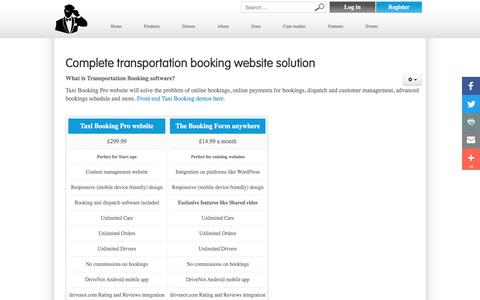 Screenshot of Products Page taxibookingpro.com - Products - captured Feb. 28, 2017