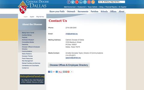 Screenshot of Contact Page cathdal.org - Catholic Diocese of Dallas | Bishop Kevin Farrell - captured Jan. 26, 2016