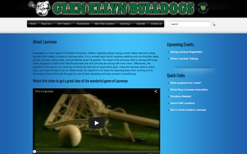 Screenshot of About Page gebulldogs.com - About Lacrosse - captured April 19, 2016