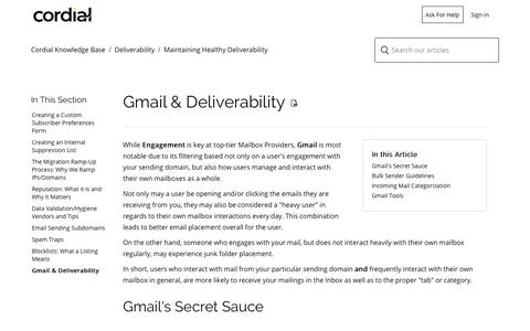 Screenshot of Support Page cordial.com - Gmail & Deliverability  – Cordial Knowledge Base - captured June 18, 2019