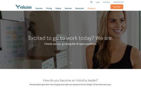 Screenshot of Jobs Page volusion.com - Careers and Jobs at Volusion Inc. in Austin, TX - captured Nov. 5, 2015
