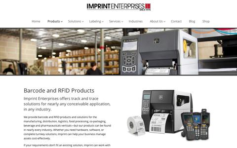 Screenshot of Products Page imprint-e.com - Barcode and RFID Products - Imprint Enterprises - captured Feb. 11, 2018