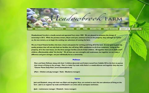 Screenshot of About Page meadowbrookfarmily.com - ABOUT US - Meadowbrook Farm - captured Oct. 27, 2014