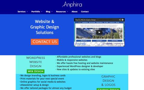 Screenshot of Home Page anphira.com - Anphira   Web Design, WordPress Blogs, Logos & Graphic Design - captured Sept. 30, 2014