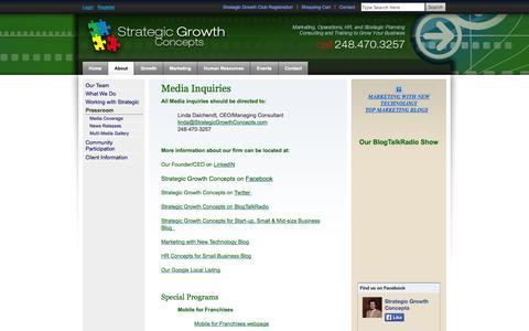Screenshot of Press Page strategicgrowthconcepts.com - strategic growth concepts - pressroom - captured Sept. 30, 2014
