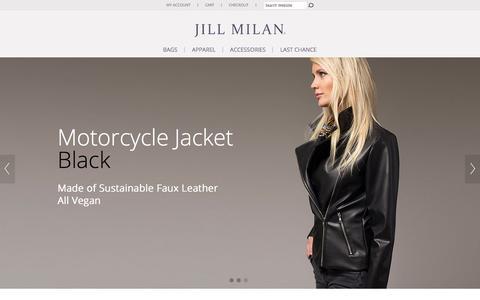 Screenshot of Home Page jillmilan.com - Jill Milan -  Luxury Handbags  |  Vegan Fashion  |  Made In Italy. - captured Jan. 9, 2016