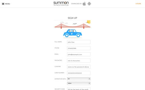 Screenshot of Signup Page summon.com - Summon | Personal & Taxi Rides - captured Oct. 1, 2014